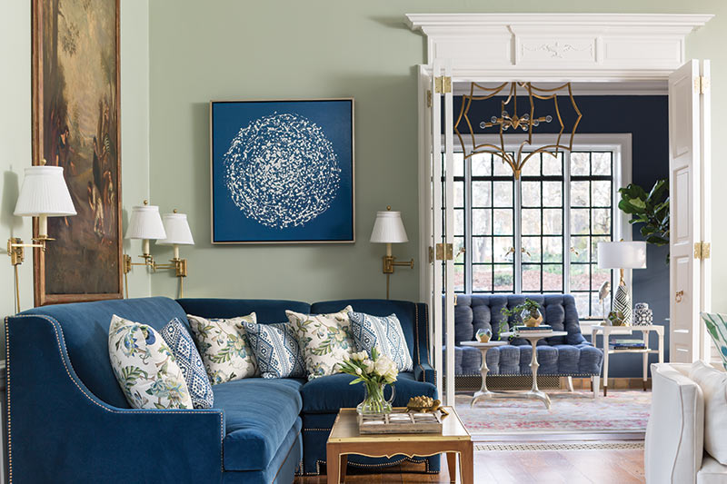 Edited blue and green living room in showhouse
