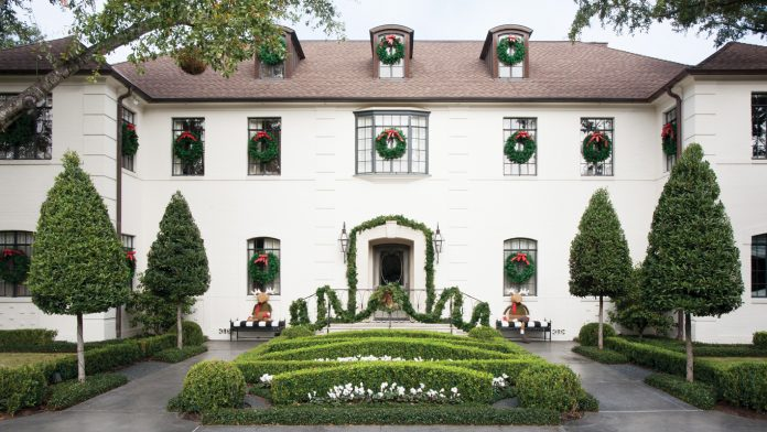 Beautiful European style home exterior decorated for Christmas