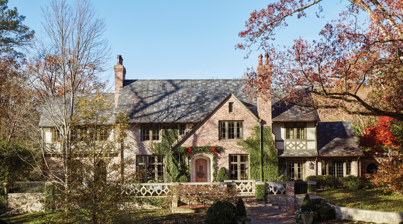 Beautiful English manor style exterior of brick home