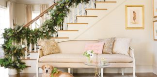 golden retriever and Christmas stairwell