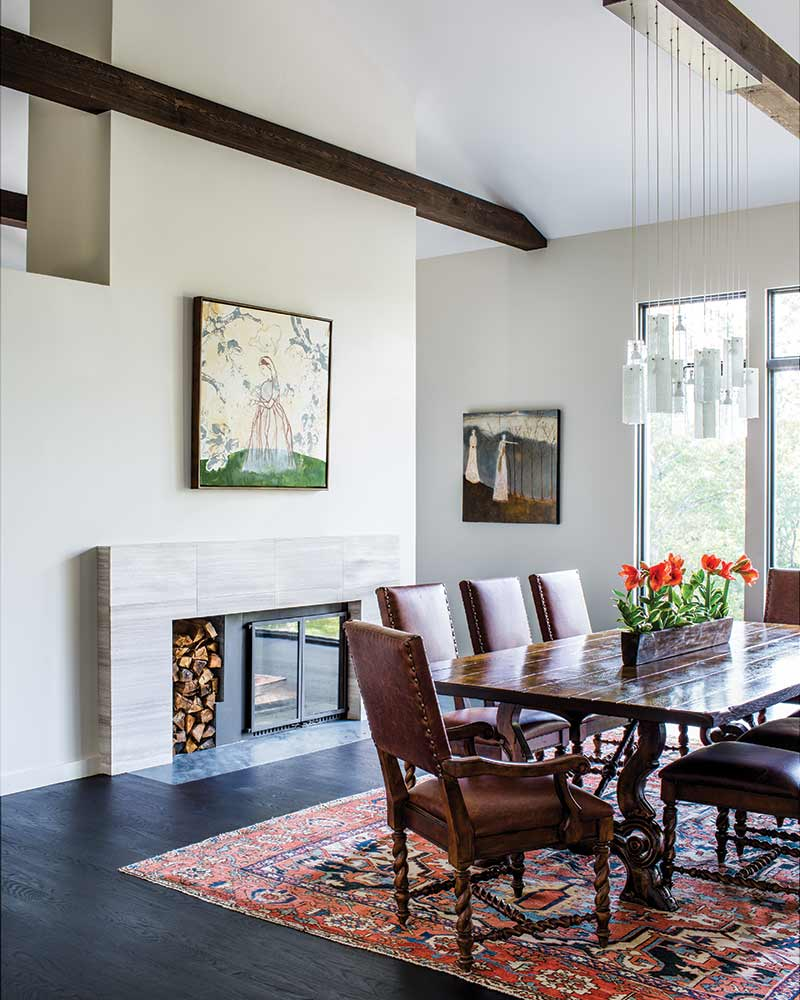 modern dining room with fire place