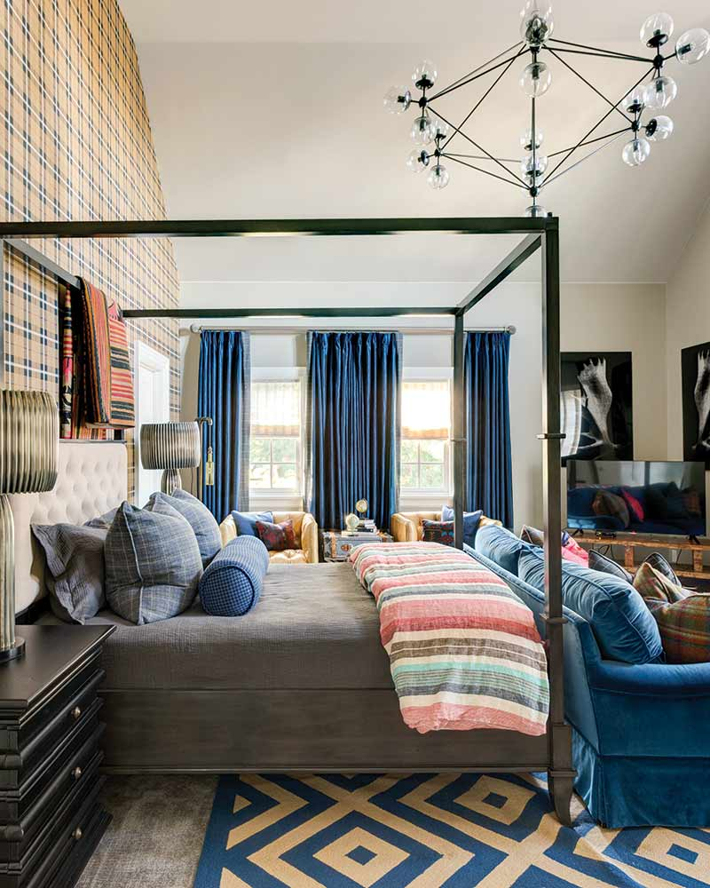 masculine and mixed-patterned bedroom