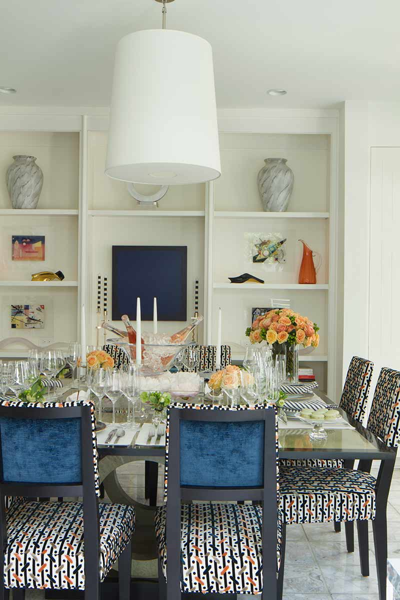 Table set with orange and blue color scheme