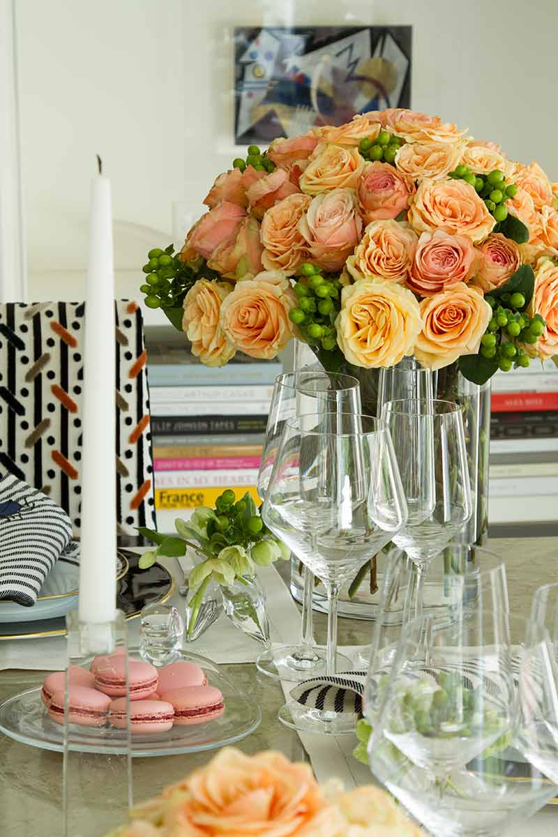 Orange and pink rose centerpiece