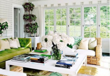 green and white living room