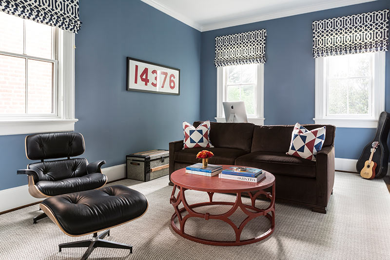 blue and red TV room