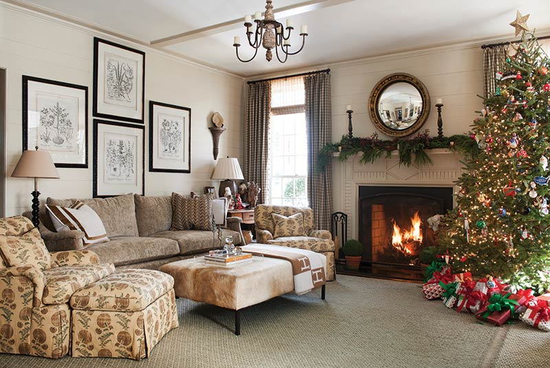 Fraser fir and fireplace