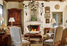 fireplace in elegant living room