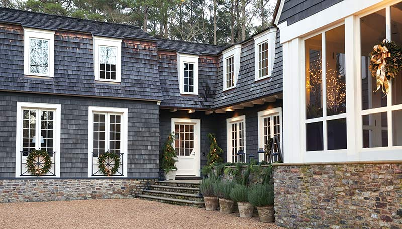 dark gray shingled-house