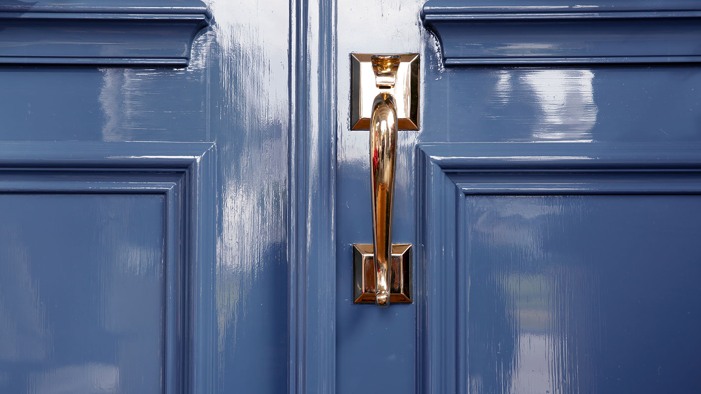 blue high gloss front door