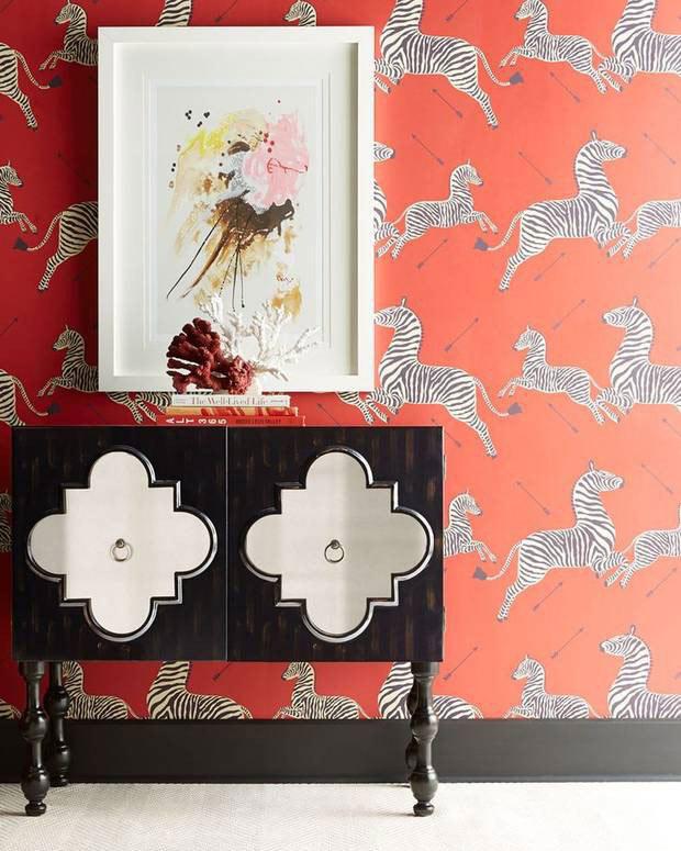 Scalamandre zebra pattered wallpaper