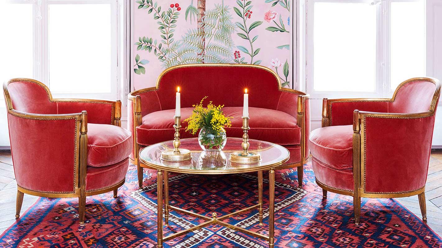 de Gournay velvet upholstery
