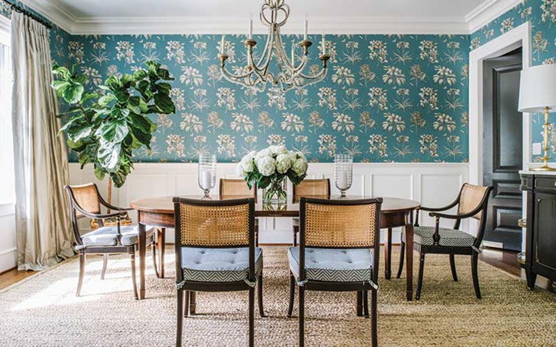 dining room with Sanderson botanical wallpaper