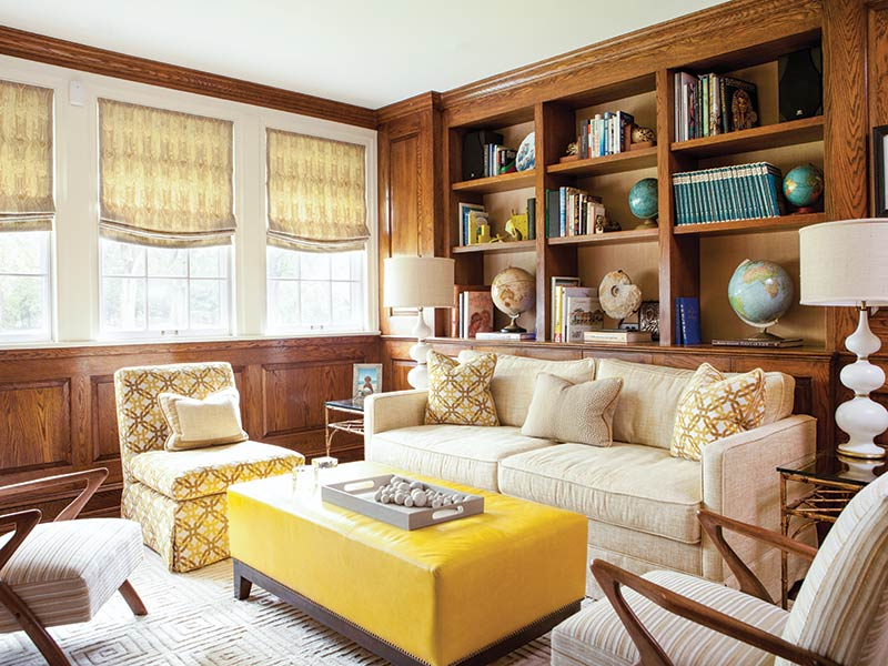 traditional sitting room with yellow accents