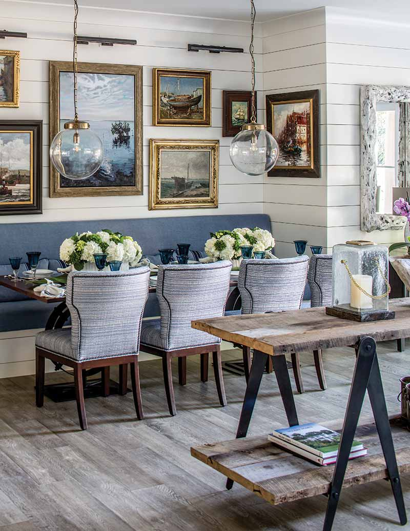 Key West vacation home breakfast nook and gallery wall