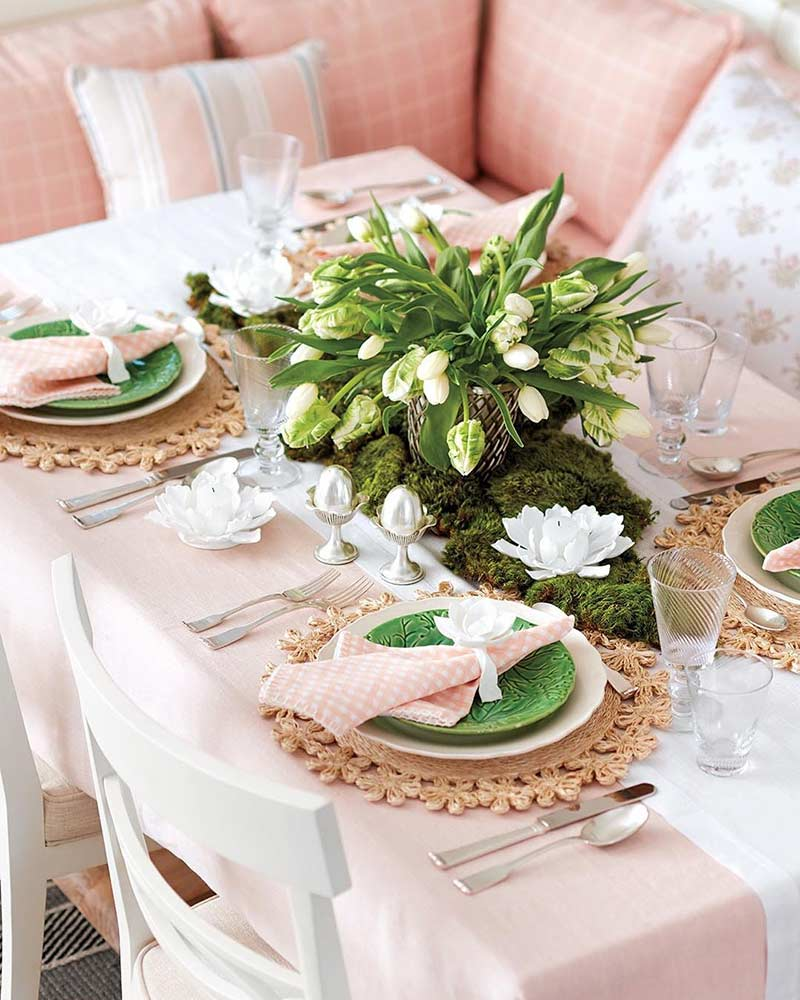blush and green table setting
