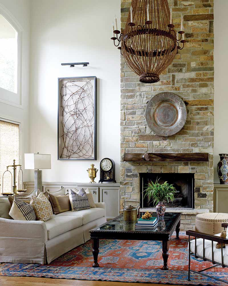 Living room with rocked chimney