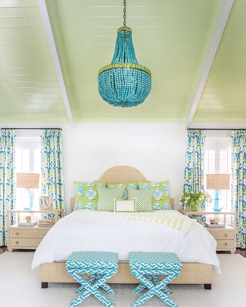blue and green master bedroom in coastal Georgia home