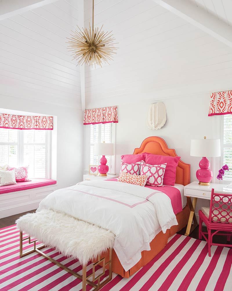 pink and orange girls bedroom in coastal Georgia home