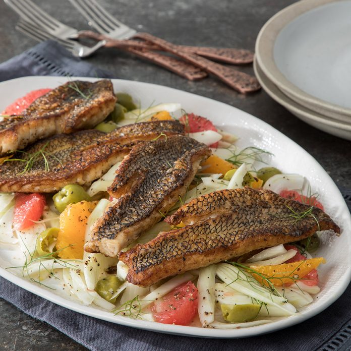 Butter Seared Black Sea Bass with Shaved Fennel-Citrus Salad